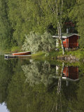 Sauna and Lake Reflections, Lapland, Finland Photographic Print by Doug Pearson