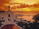 Mykonos Town and Harbour, Mykonos, Greece Fotografisk tryk af Doug Pearson