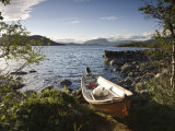 Boat on Lake Kilpisjarvi, Kilpisjarvi, Arctic Circle, Lapland, Finland Photographic Print by Doug Pearson