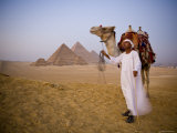 Camel and Driver at the Pyramids, Giza, Cairo, Egypt Photographic Print by Doug Pearson