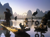 Cormorant Fishermen, Li River, Yangshuo, Guangxi, China Photographic Print by Peter Adams