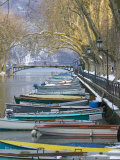 Boats Along Canal du Vasse, Annecy, Haute-Savoie, France Photographic Print by Walter Bibikow