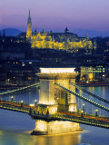 Chain Bridge and Danube River, Budapest, Hungary Fotografie-Druck von Doug Pearson