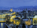 Skyline of Zurich, Switzerland Fotografisk tryk af Jon Arnold