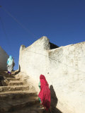 Ladies Walking in Steps, Old Town, Harar, Ethiopia Photographic Print by Jane Sweeney