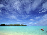 Kayaker, Muri Beach, Rarotonga, Cook Islands Photographic Print by Walter Bibikow