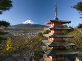 Mount Fuji and Temple, Fuji-Hakone-Izu National Park, Japan Photographic Print by Gavin Hellier