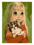 Girl Holding Cat Print