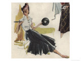 Girl with Record Player Giclee Print