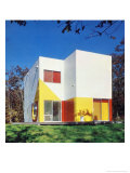 Primary Colour Cube House Giclee Print