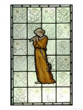 Woman Playing Pipes on Stained Glass Window Giclee Print by William Morris