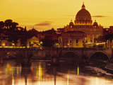 St Peter&#39;s Basilica and Ponte Saint Angelo, Rome, Italy Photographic Print by Doug Pearson