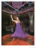 Purple Dress Disco Dancing Giclee Print