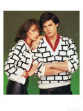 Cheesy 1980's Couple in Matching Knitwear Posters
