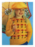 Girl in Novelty Umbrella Knitwear Posters