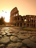 Colosseum and Via Sacra, Sunrise, Rome, Italy Lmina fotogrfica por Michele Falzone