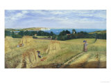 Sandown Bay, Isle of Wight to Culver Cliff with a Cornfield in the Foreground, c.1850 Giclee Print by Richard Burchett