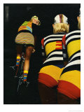 Girls Cycling in Knitted Gear Giclee Print