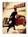 1930&#39;s Lady Running Towards Fiat Car, La Nuova Balilla per Tutti Eleganza Della Signora Poster