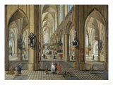 Interior of Antwerp Cathedral, Flemish, 17th Century Giclee Print by Pieter Neeffs the Elder