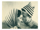 His and Hers Ribbed Stripe Hats Poster