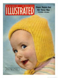 1950's Baby in Yellow Knitted Cap on Illustrated Cover Posters