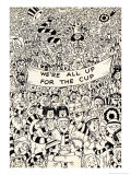 We're All Up For the Cup, Football Crowd Cartoon Print