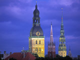 Dome Cathedral, St. Peter's and St. Saviour's Churches, Riga, Latvia Photographic Print by Peter Adams