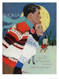 Romantic Moonlit Ice Skating Giclee Print
