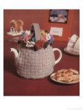 Knitted Flower Basket Tea Cosy Poster