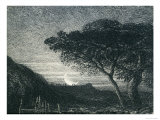 The Lonely Tower, from Il Penseroso, Night Sky with Moon Setting on the Horizon, 19th Century Giclee Print by Samuel Palmer
