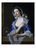 Margaret Woffington at a Window with a Pet Bird Giclée-Druck von Jean Baptiste Van Loo