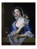Margaret Woffington at a Window with a Pet Bird Giclée-Druck von Jean Baptiste Van Loo