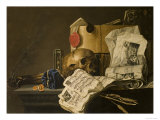 Vanitas Still Life with Skull, Papers, A Wax Seal and a Burning Log Reproduction procédé giclée par N. L. Peschier