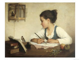 Young Girl Writing at Her Desk with Birds Gicléetryck av Henriette Browne