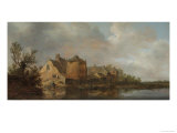 River Scene with an Inn. Dutch Style Landscape Painting Giclée-Druck von Jan Van Goyen