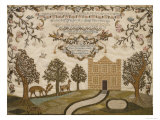 House and Deer Sampler, c.1785 Giclee Print