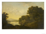 Lake Scene with Boat and Anglers Giclee Print by George Smith