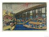 People Enjoying the Cool of Ryogoku Bridge Giclee Print by Keisai Eisen