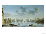 View of Old London Bridge from the West Reproduction proc&#233;d&#233; gicl&#233;e par Claude de Jongh