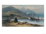 River with Figure on the Bank, 19th Century Giclee Print by George Chinnery