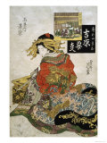 The Courtesan Koimurasaki of Tama-Ya in the First Month Giclee Print by Keisai Eisen