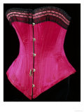 Pink Silk Satin Edged Whalebone Corset with Black Lace and Pink Ribbon Gicl&#233;e-Druck