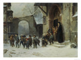Young Boys Leaving a Church School Building onto a Snow Covered Courtyard, c.1853 Giclée-Druck von Marc Louis Benjamin Vautier