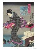 Woman Showing Fabric Samples Giclee Print by Utagawa Kunisada