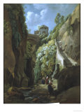 View in the Island of Capri, with Women Washing Clothes Giclee Print by Ramsay Richard Reinagle