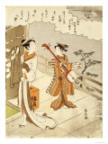 Cuckoo Flying over April Clouds Giclee Print by Suzuki Harunobu