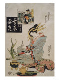 The Courtesan Suganosuke of Okamoto- Ya in the Fourth Month Giclee Print by Keisai Eisen