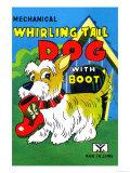 Mechanical Whirling Dog with Boot Posters