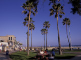Picnic Tables, Newport Beach, California Photographic Print by Bill Bachmann
